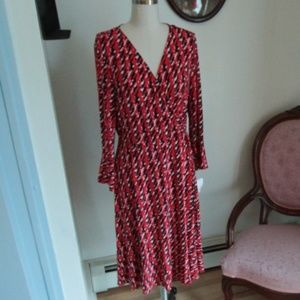 NWT Neiman Marcus Red Abstract Pattern Dress